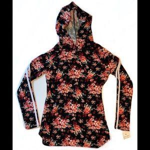 Ultra Flirt NWT Black floral hoodie Juniors M